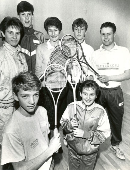 1989: Aberdeen's first municipal squash venue, at Kincorth, was opened this week. Some of the players who tried out the new courts were: (left to right) - Wendy Maitland (Inverurie); Billy Gerrard (Inverurie), junior convener of Grampian Squash Racquets Association; Peter Nicol (Inverurie); Scott Wilson (Aberdeen). In front are Jonathan Masterton (Stonehaven) and Tracy Maitland (Inverurie).