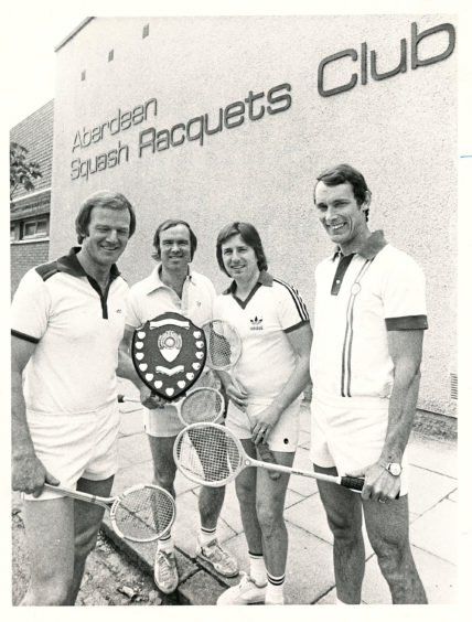 1979: Four members of the Aberdeen Squash Club team who won the Grampian Squash League Division 1 title. Pictured with the trophy are (left to right) - Stan Keir, Graham Beattie, Alister Sinclair and Eric McIntosh.