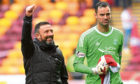 Former Aberdeen manager Derek McInnes (L) with Joe Lewis.