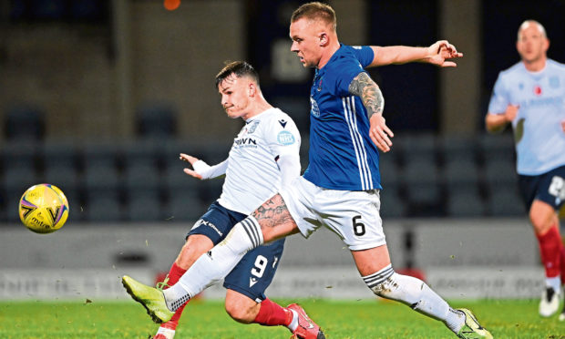 Ryan Strachan, right, in action for Cove Rangers.