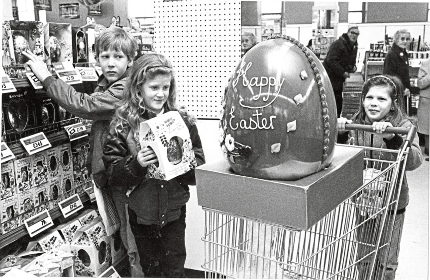 1984 - Thats eggsactly what I want for Easter says seven-year-old Angie Beaton. But Angie (right), brother Lee (10) and sister Melanie (8) of 24 Corthan Drive, Aberdeen, had to make do with something a little smaller. The giant 25lb egg is one of 250 from Rowntree Mackintosh in Woolworths stores all over Britain which will be given to charity. But Woolies, Aberdeen, assistant manager Myles Laing has asked Evening Express readers to suggest who they think would most like the monster in Aberdeen. Wed like to hear suggestions and their reason and we will pick the best, said Myles.
