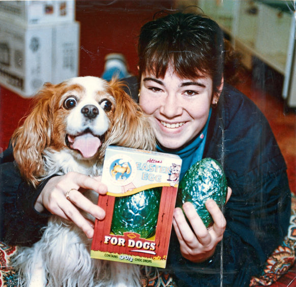 1993 - An Easter treat of a special doggie chocolate egg for Mitzi, the King Charles spaniel, from her owner, Inverness teenager Lynne Cameron, Planefield Road.