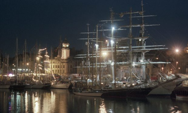 The spectacular sight of the Tall Ships berthed in Aberdeen Harbour on their last visit in 1997.