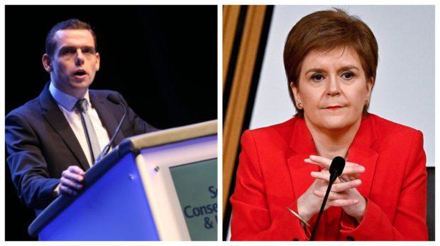 Douglas Ross and Nicola Sturgeon.