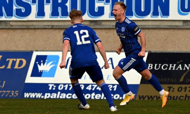 Jordon Brown celebrating after scoring against Airdrieonians. Picture by Kenny Elrick