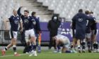 Scotland's Stuart Hogg, second left, celebrates after Scotland's Duhan Van der Merwe scored the winning try during the Six Nations rugby union international match between France and Scotland at the Stade de France.