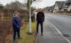 Councillor Gillian Owen and resident Gary Thomson on Hospital Road in Ellon, where 54% of vehicles were recorded speeding.