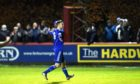 Cove's Mitch Megginson celebrating after scoring against Brechin City.