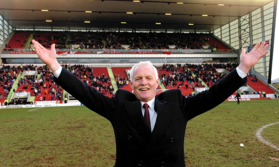 Emmerdale star Chris Chittell at Pittodrie giving an appeal at half time for people to join the Anthony Nolan register in 2005.