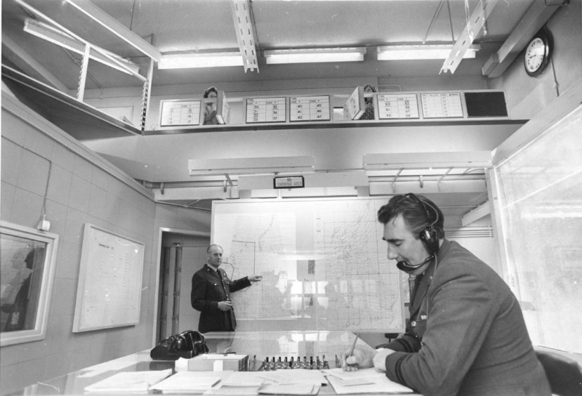 1975 - Plotting work in progress within the Aberdeen area operations centre