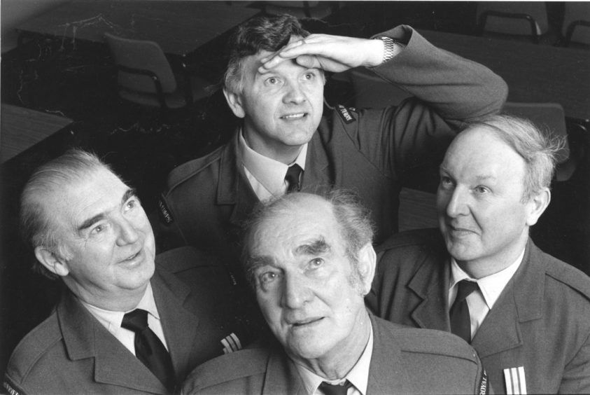 1989 - Long service awards were given to, from left, Gordon Mackie, John Cooper, John Hogg and Dick Milne