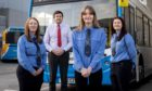 Stagecoach Bluebird are highlighting their female bus drivers to celebrate International Women's Day. With Stagecoach Bluebird MD Peter Knight are, from left, Amber Beattie, Danielle Martin and Nikki Shewan.