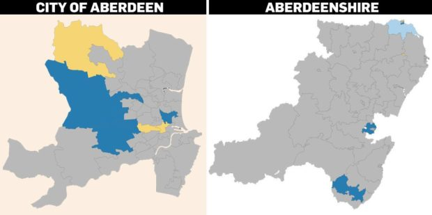 Map showing covid cases in Aberdeen and Aberdeenshire
