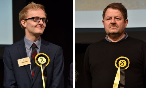 Aberdeenshire councillors Leigh Wilson, left, and Alastair Bews, right, when they were elected as SNP councillors in 2017. The pair have now joined the Alba party.