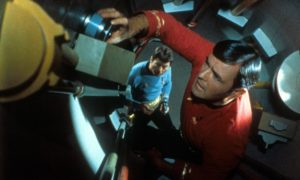 Scotty, played by James Doohan, putting his engineering skills to good use on the USS Enterprise.