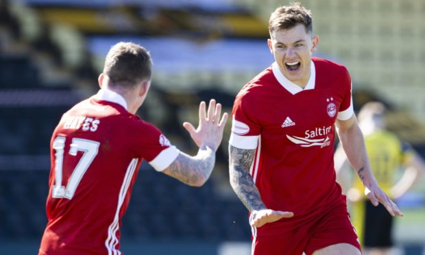 Aberdeen's Callum Hendry celebrates his goal to send the Dons into the fourth round of the Scottish Cup.