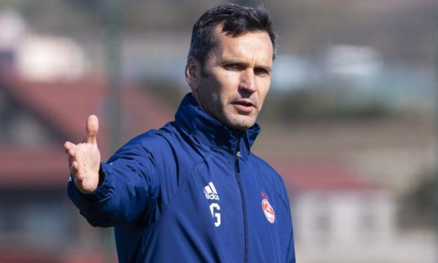 Aberdeen manager Stephen Glass during an training session at Cormack Park.