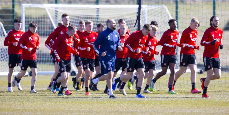 The Aberdeen squad are put through their paces.