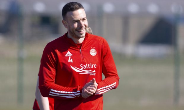 Aberdeen defender Andrew Considine during a training session at Cormack Park under new manager Stephen Glass.