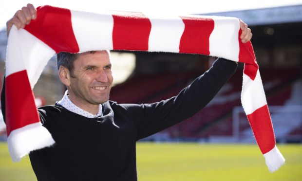 Stephen Glass is pictured at Pittodrie as Aberdeen manager for the first time.