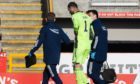 Aberdeen goalkeeper Joe Lewis is injured and unable to continue against Livingston.