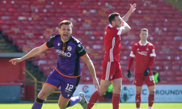 Ryan Edwards celebrates his goal to make it 2-0 Dundee United against Aberdeen.