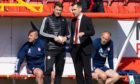 Aberdeen manager Stephen Glass (R) talks with coach Allan Russell during the Scottish Cup loss to Dundee United.