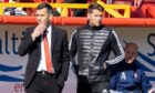 Aberdeen manager Stephen Glass (L) and coach Allan Russell during the Scottish Cup loss to Dundee United.