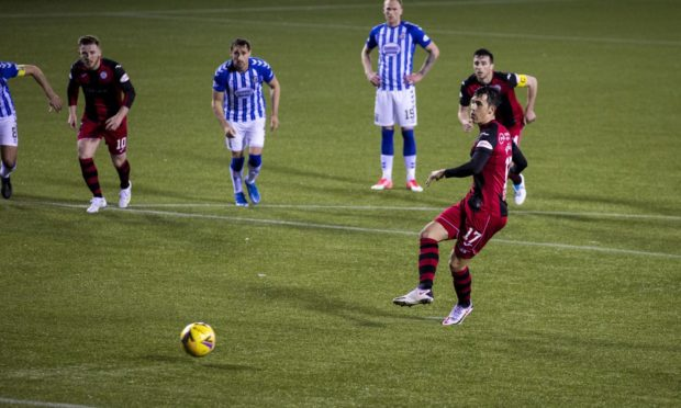 St Mirren's Jamie McGrath scores a penalty to make it 3-3 during the Scottish Cup Quarter Final against Kilmarnock