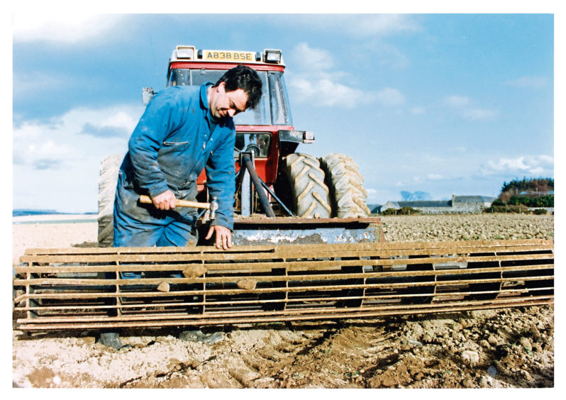 1993 - Gordon Shand from Craigenseat Farm, near Huntly, preparing the ground for sowing spring barley
