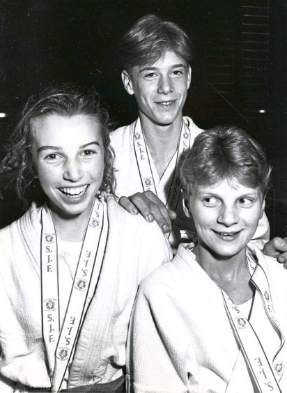 1990 - Amanda Fullerton, Mark Delaurier and Michelle Morrice set for the British Judo Championships