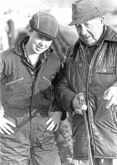 1989 - Sixteen-year-old Dianne Keith picks up tips on ploughing from old hand Harry Nicol, 93