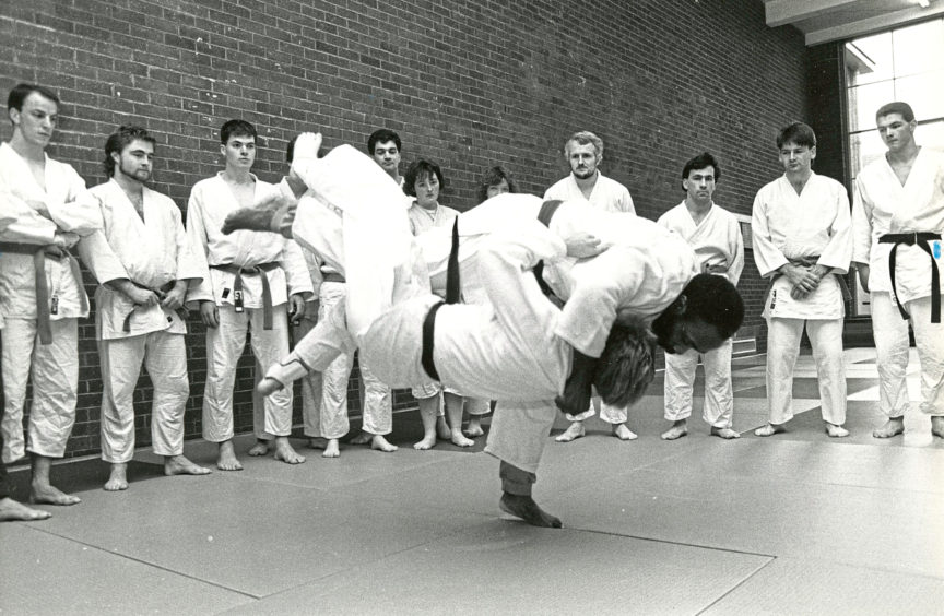 1989 - Former Olympic judo team captain Vass Morrison throws a volunteer during a display at Aberdeen University Club