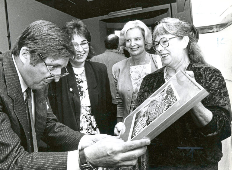 1988 - Scotland the What? comedian Buff Hardie opens the Ferryhill community council annual crafts exhibition