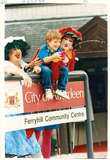1994 - Joel Wood, 4, has some fun with Ferryhill Players Pete Mulvey, left, and Mike Scott