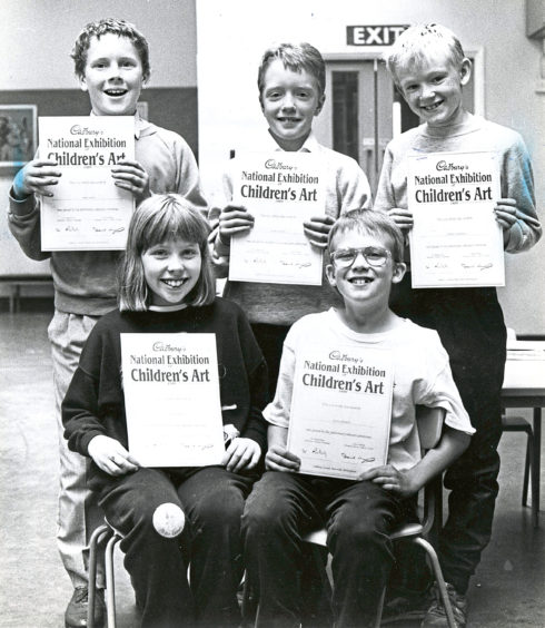 1989 - Ferryhill Primary certificate winners in the Cadbury's competition are Craig Duthie, David Addison, Stewart McPherson, Tracey Stephen and Steve Crocket