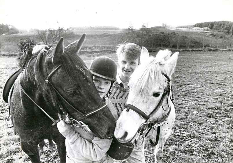 1988: Willie (left) and Lucky Lucy talk over their chances in tomorrow's competition being run by Aberdeen's Hayfield Riding School after being put through their paces yesterday by 15 year old Billy Grant (left), Bucksburn and their owner Kevin McDonald (15), Bucksburn, both Aberdeen.