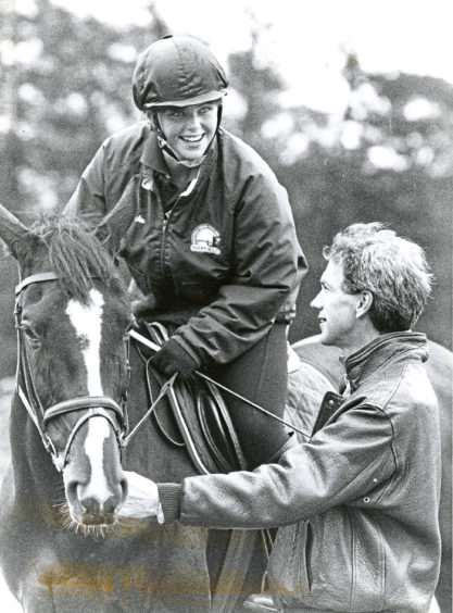 1993: Auchnagatt rider Jackie Taig (19) in conversation with Olympic eventer Ian Stark at Hayfield Equestrian Centre, Aberdeen.