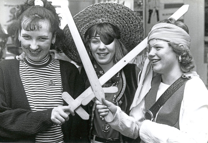 1991: Thirteen-year-old pirates (from left) Carole Winpenny, Elaine McConnachie and Lynne Ingram.