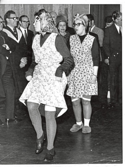 1970: The Queen who was visiting Hazlehead Academy, for its official opening, was watching Kathleen Innes and Margaret Neri in a routine for a school concert - a scene in the drama department at Hazlehead Academy