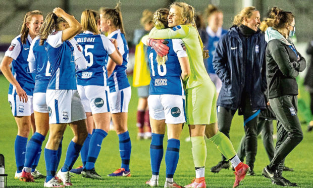 Birmingham City Women celebrate at end of game during the FA Women's Super League match against Aston Villa Ladies.