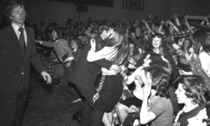 Bedlam at the Bay City Rollers 1975 gig in the Capitol, as ushers thwarted fans trying to rush the stage.