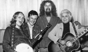 Billy Connolly with the three winners of the P&J's Meet the Big Yin  competition at the Music Hall in 1975. The winners were Diane Paterson, Graham Reid and Jean Irwin.