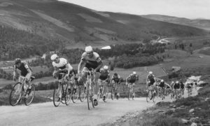 Competitors strain every muscle in an effort to conquer the steep Lecht road at Gairnshiel in 1971 during the second day of the 280 mile Tour of the Grampians Cycle Race..