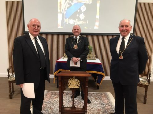 Deacon Convenor of Seven Incorporated Trades Mervyn Donald, Lord-Lieutenant Barney Crockett and Lord Dean Burgesses of Guild Colin Taylor at the service.