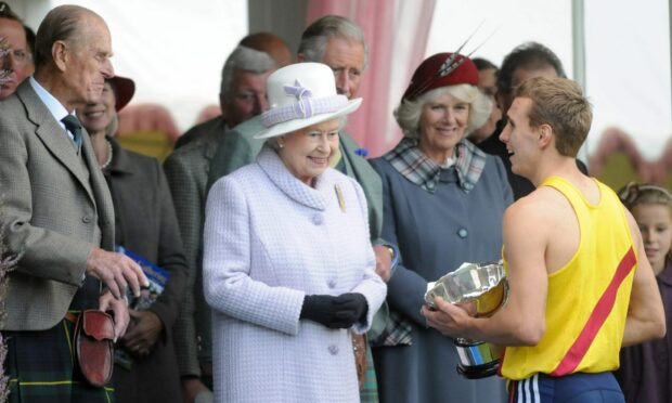 The Queen, Prince Philip, Prince Charles, Camilla and Princess Anne attending the annual Braemar Highland Games in 2012