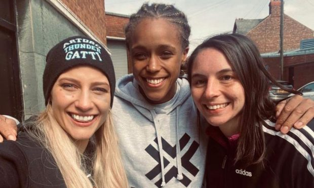 Nicola Hopewell, right, with Ebanie Bridges, middle, and Natasha Jones, middle, who will face Katie Taylor on May 1 in a world title fight.