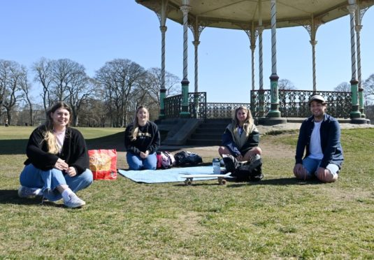 From left, Sarah Wood, Rebecca Brewer, Ivy Gray and Michael McConnach in Duthie Park. Picture by Kath Flannery
