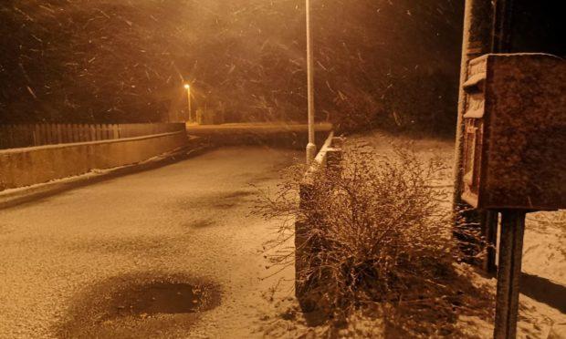 Snow in St Katherines, Aberdeenshire.