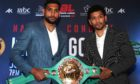 Amir Khan (left) and Neeraj Goyat pose during the head to head during the press conference at The Landmark Hotel, London.